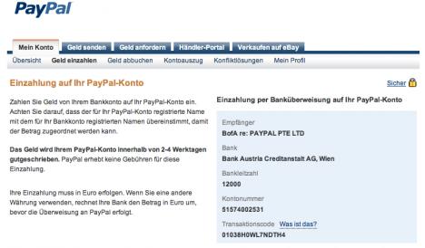 paypal betrag auf konto überweisen